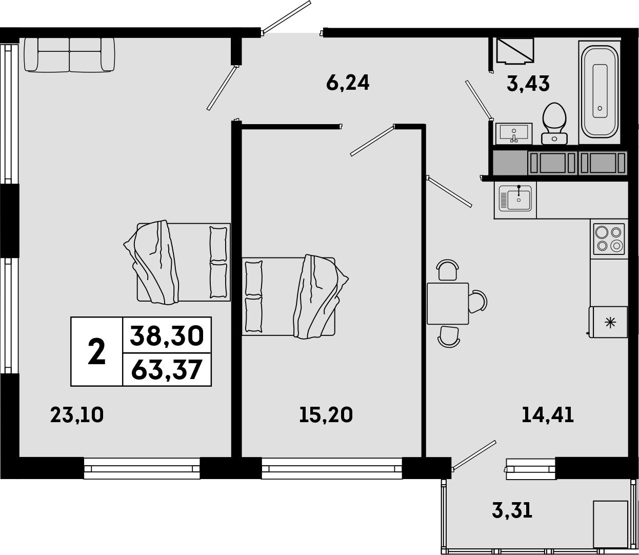 3Е-комнатная, 63.37 м²– 2