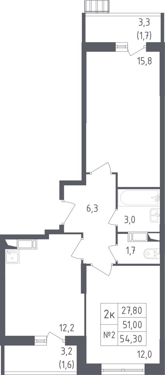 2-к.кв, 54.3 м²