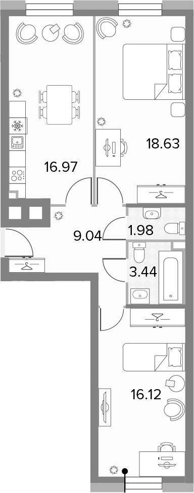 3-к.кв (евро), 66.18 м²