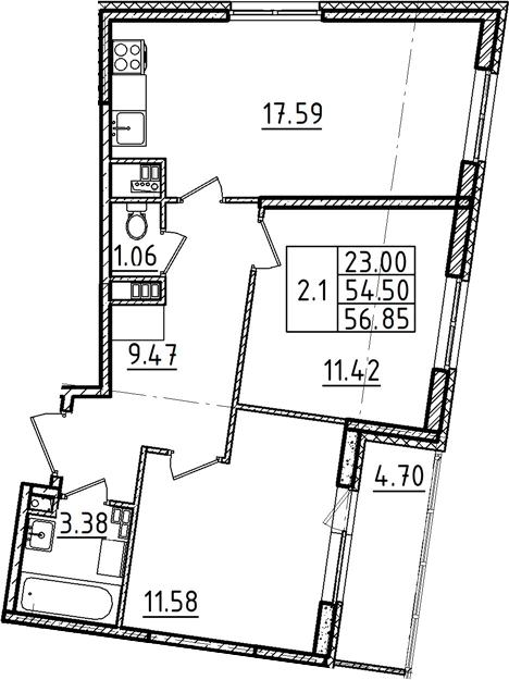 3Е-к.кв, 56.85 м²