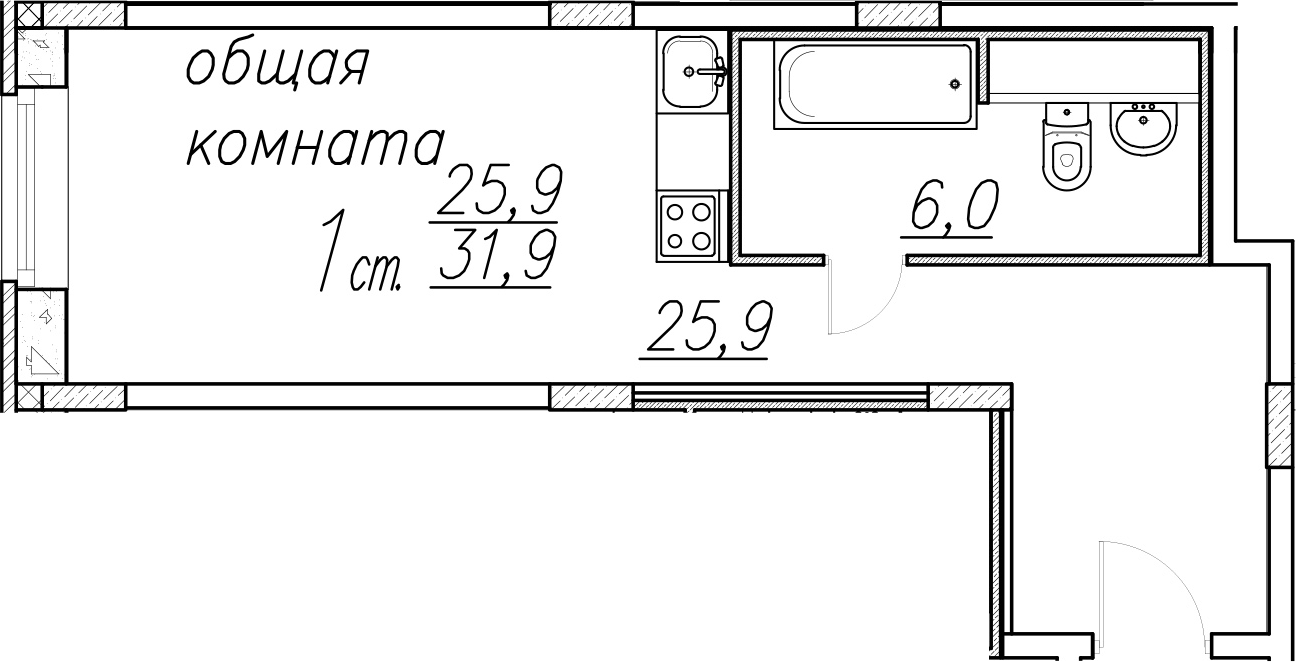 Студия, 31.9 м²– 2