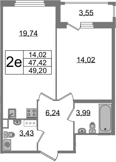 2-к.кв (евро), 50.98 м²