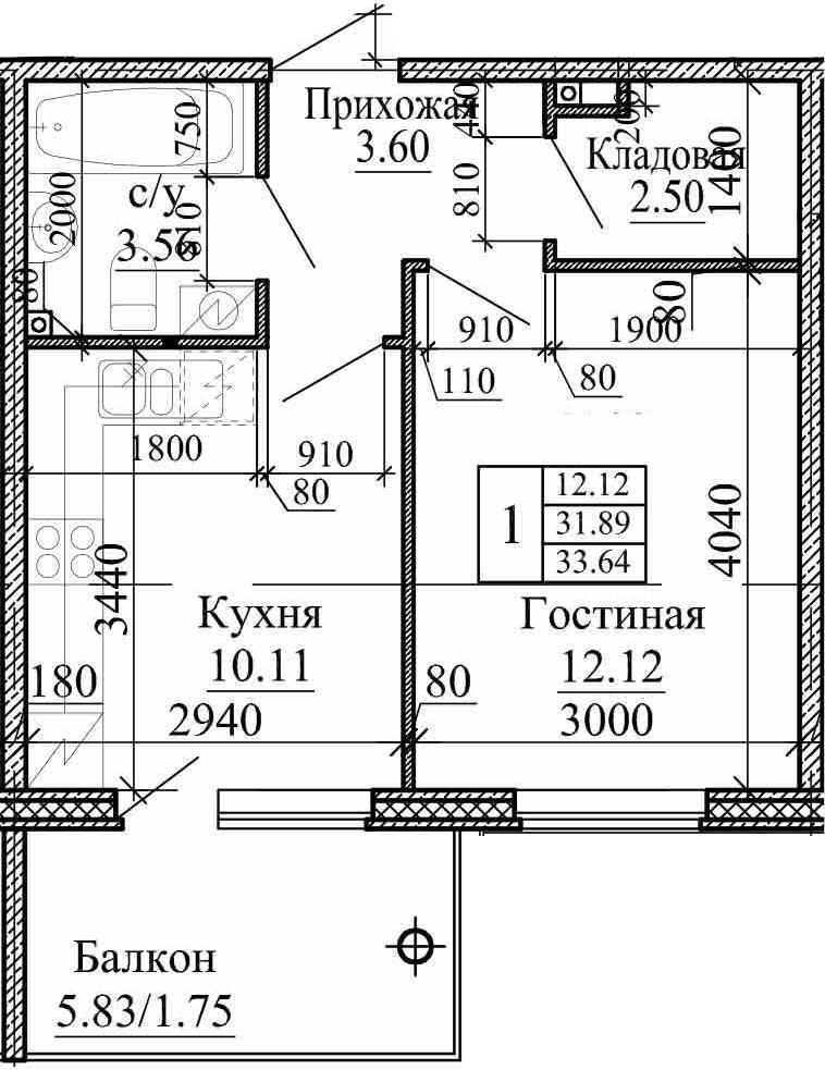 1-к.кв, 33.64 м², 1 этаж