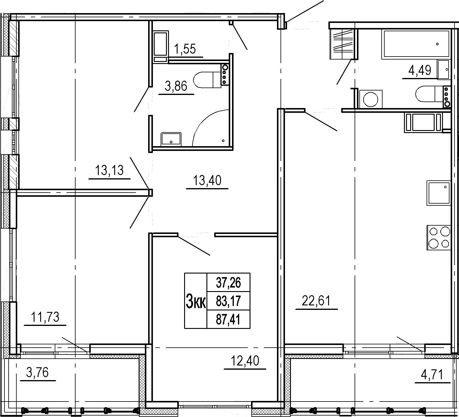 4Е-к.кв, 83.17 м², 10 этаж