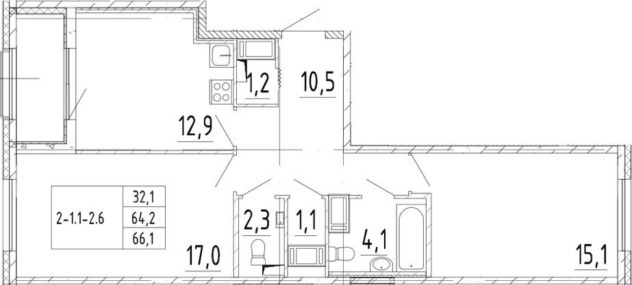 2-комнатная квартира, 66.1 м², 7 этаж – Планировка