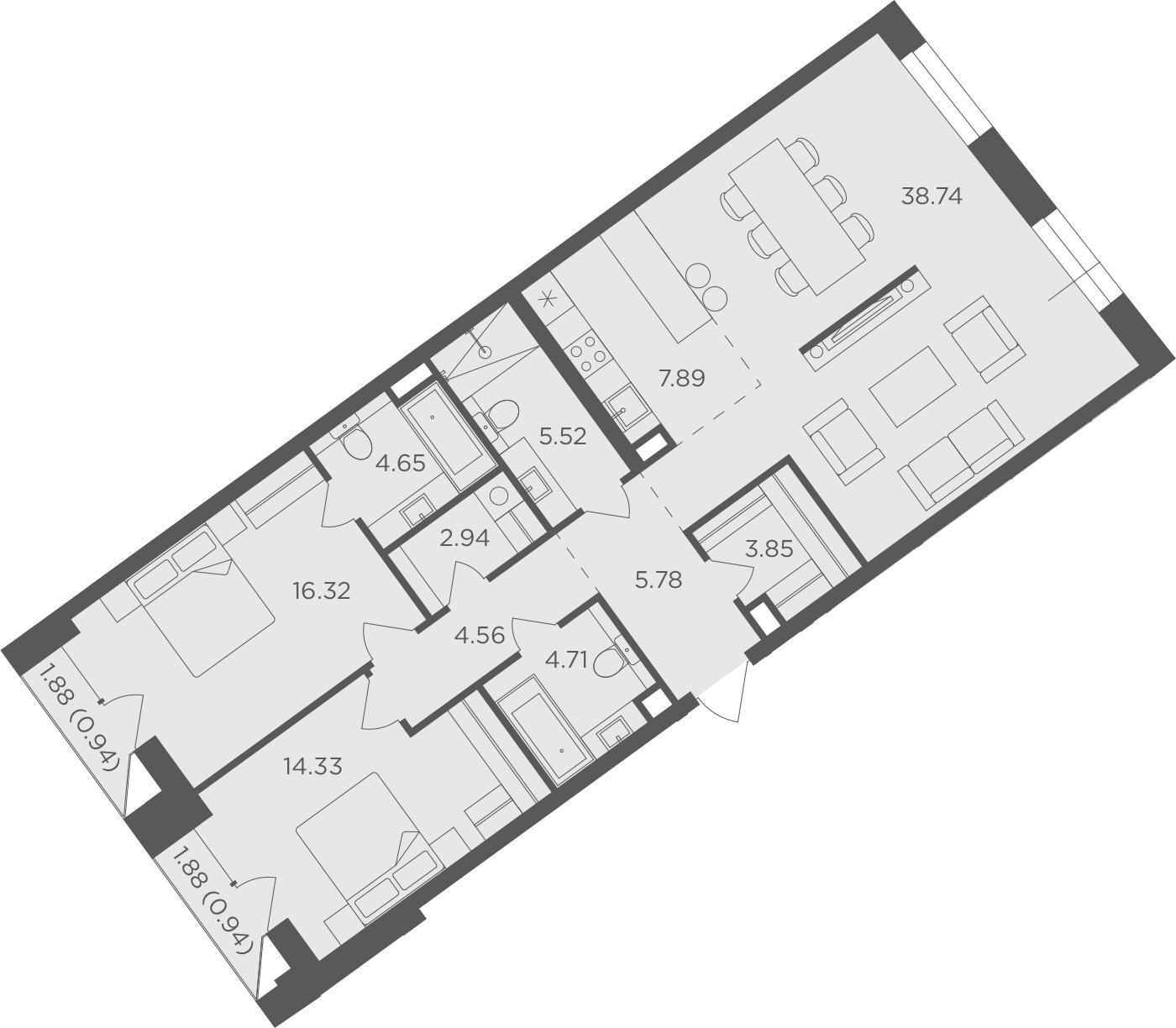 3Е-комнатная, 111.17 м²– 2