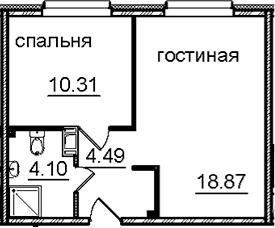 2Е-к.кв, 37.77 м², 13 этаж