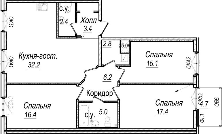4Е-к.кв, 102.3 м²
