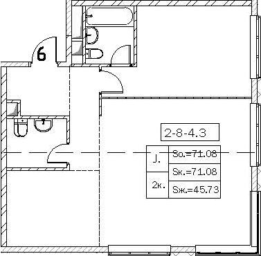 Своб. план., 71.08 м²