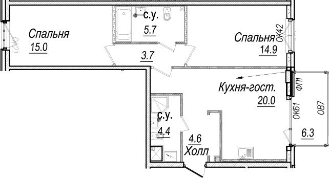 3-к.кв (евро), 74.63 м²