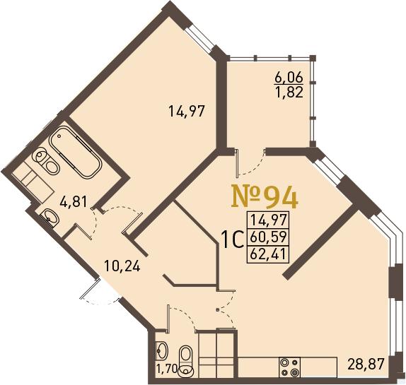 2-к.кв (евро), 66.65 м²