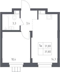 1-комнатная, 31.8 м²– 2
