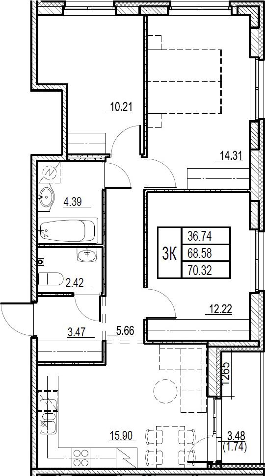 4Е-комнатная, 70.32 м²– 2