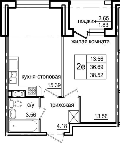 2Е-к.кв, 38.52 м², 3 этаж