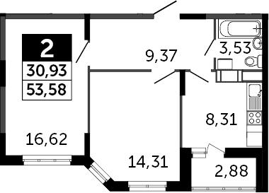 2-к.кв, 55.02 м²