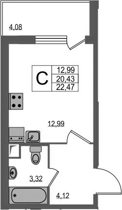 Студия, 24.51 м²