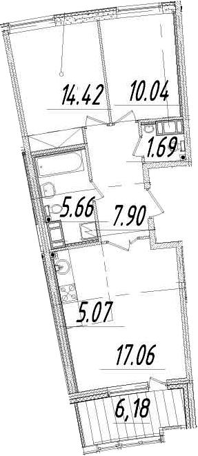 3Е-комнатная, 64.93 м²– 2