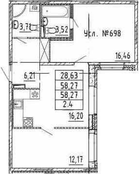 3-к.кв (евро), 58.27 м²