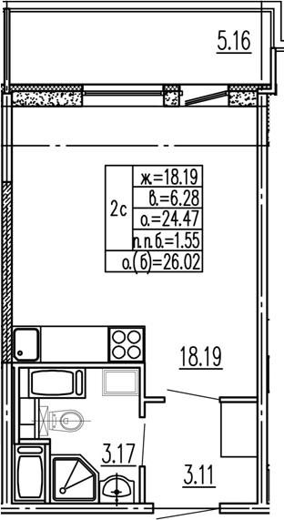 Студия, 24.47 м², 8 этаж