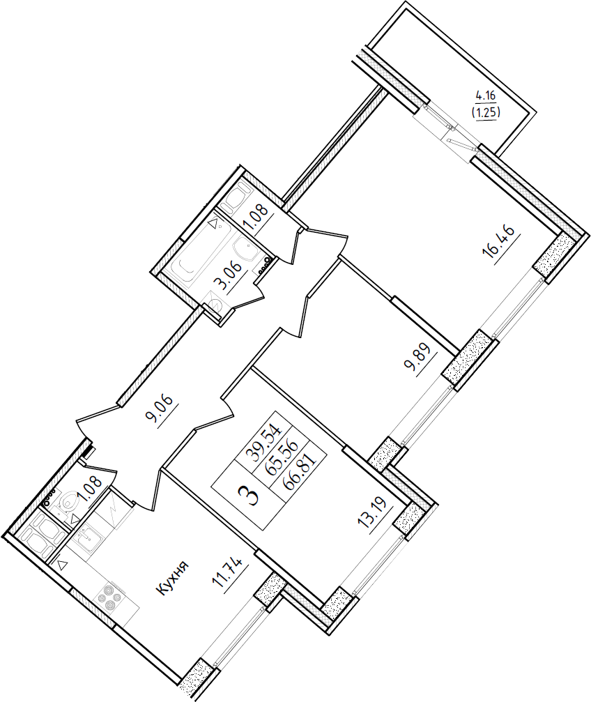 3-к.кв, 66.81 м²