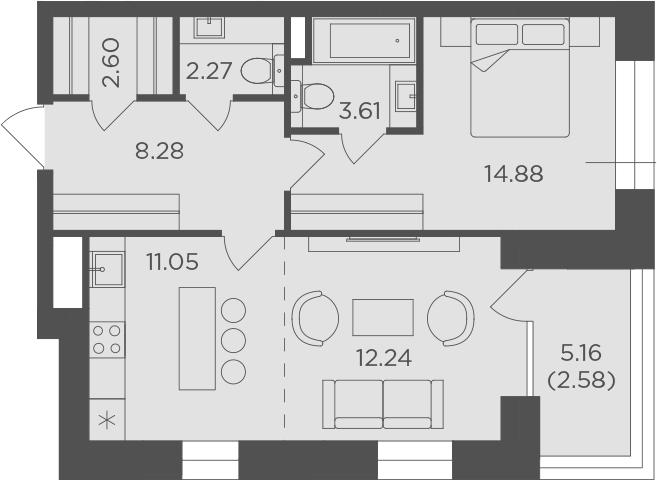 2Е-к.кв, 57.51 м², 10 этаж