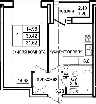 1-к.кв, 32.82 м²