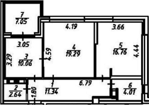 2-к.кв, 71.16 м²