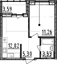 1-комнатная квартира, 32.91 м², 4 этаж – Планировка