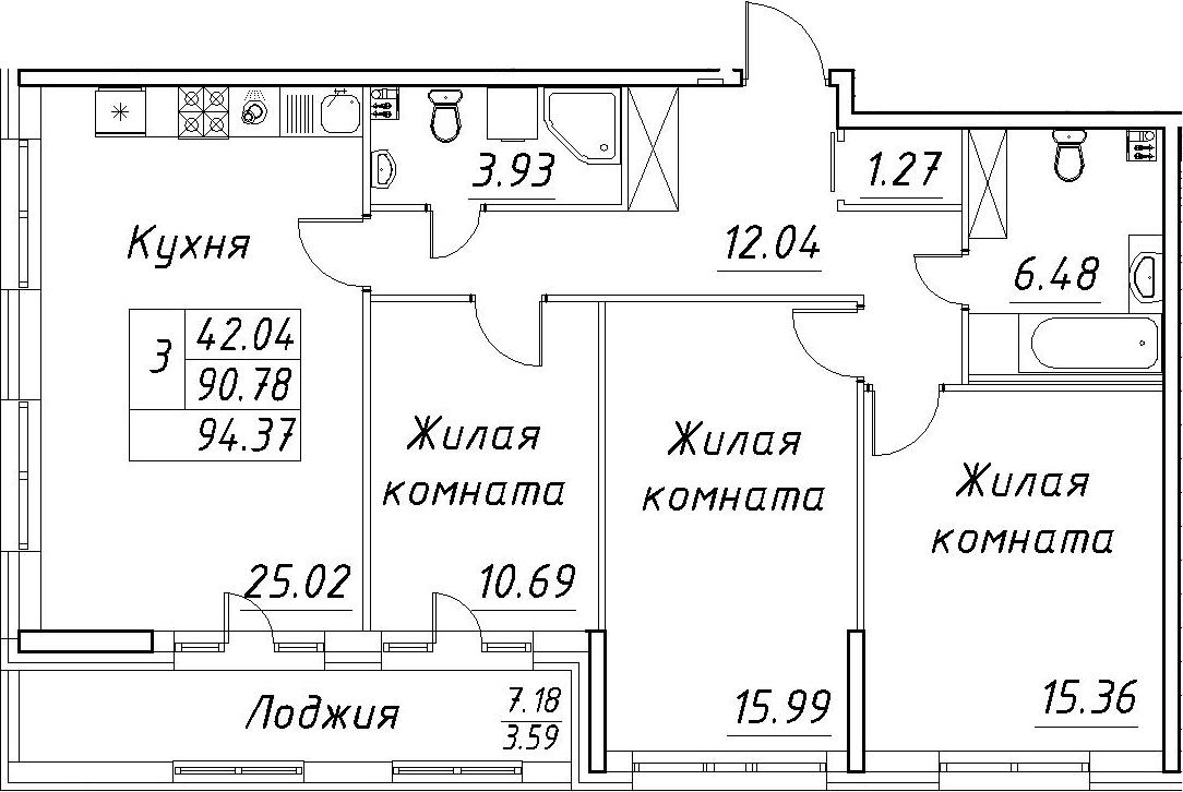 4Е-к.кв, 94.37 м², 2 этаж