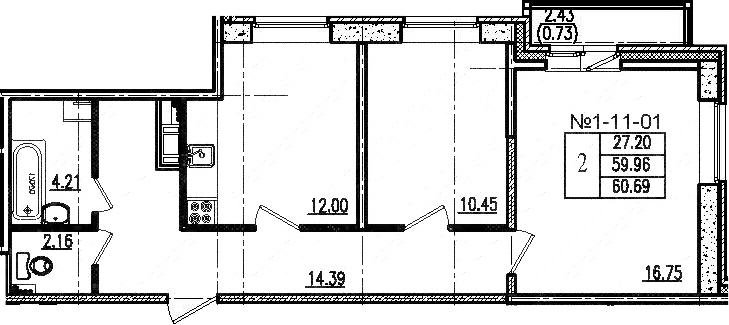 2-к.кв, 59.78 м², 11 этаж