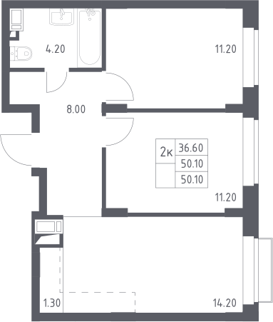 3Е-к.кв, 50.1 м²