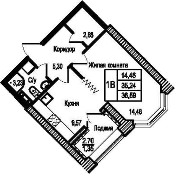 1-к.кв, 36.59 м²