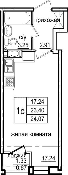 Студия, 24.07 м², 2 этаж