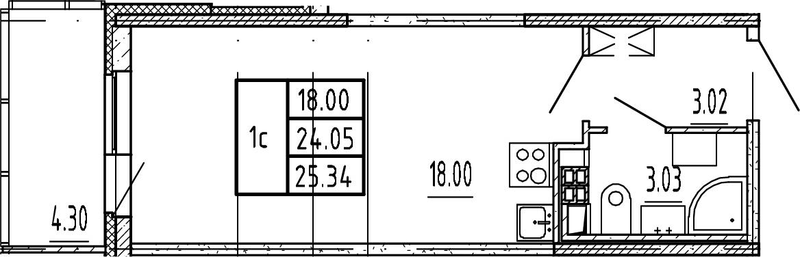 Студия, 24.05 м²