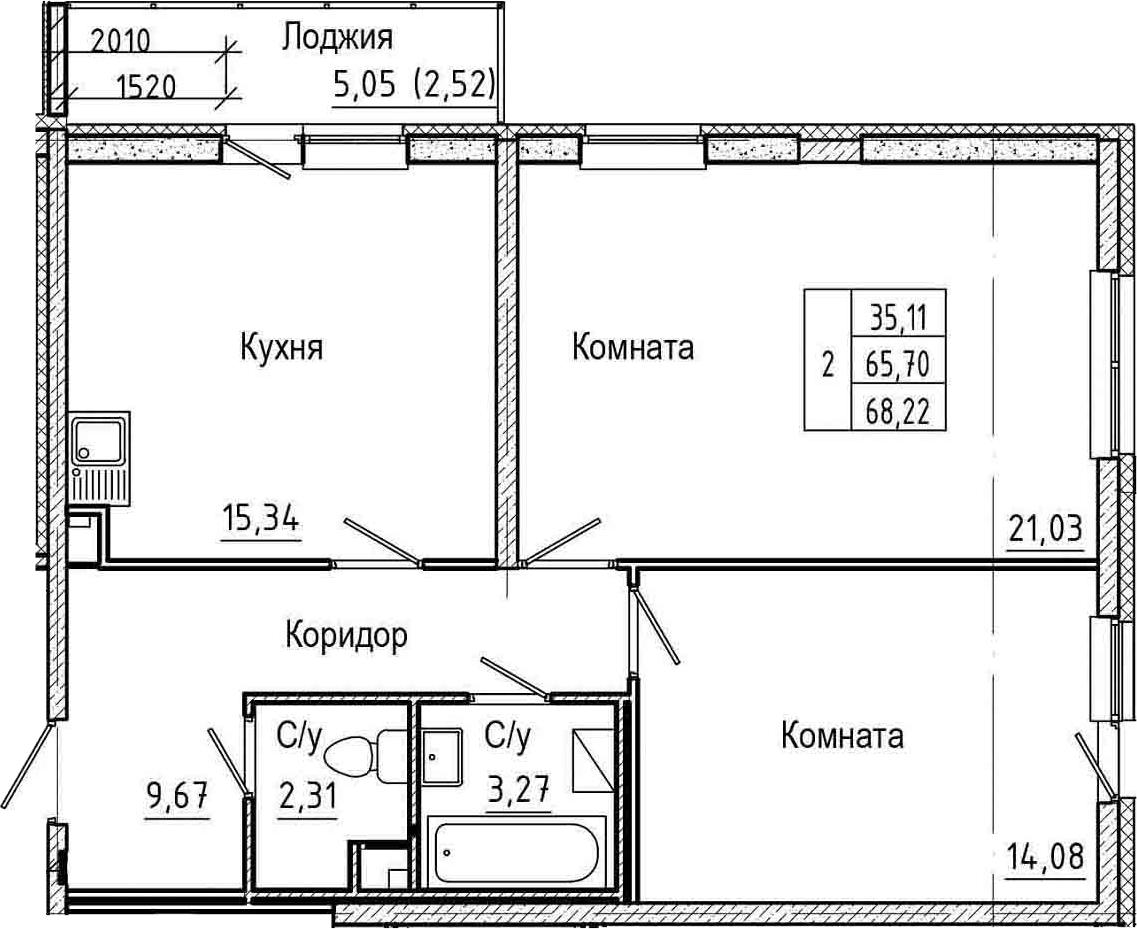 3-к.кв (евро), 70.74 м²