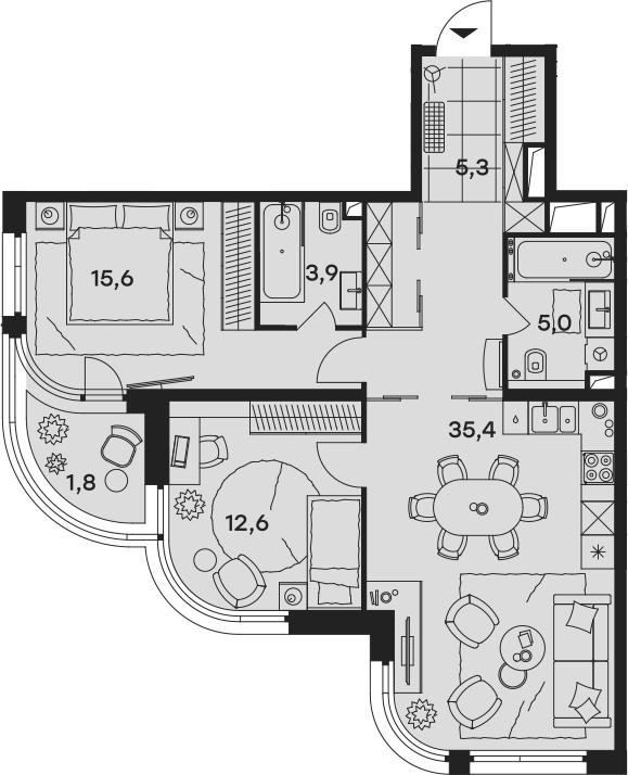 3Е-комнатная квартира, 79.6 м², 4 этаж – Планировка