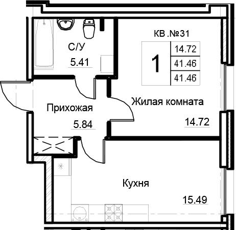 2-к.кв (евро), 41.46 м²