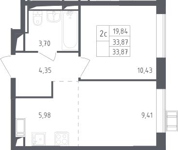 2Е-комнатная, 33.87 м²– 2