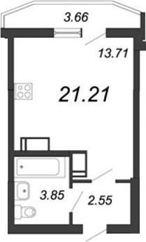 Студия, 21.21 м²– 2