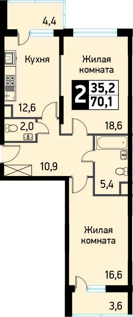2-к.кв, 70.7 м²