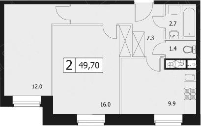 2-комнатная, 49.7 м²– 2