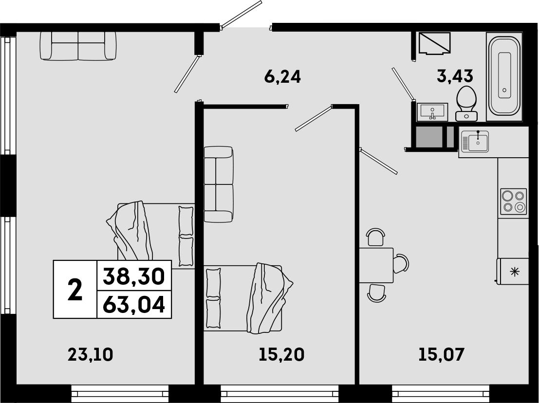 3Е-к.кв, 63.04 м²