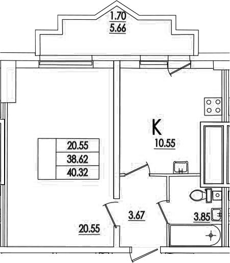 1-комнатная, 40.32 м²– 2