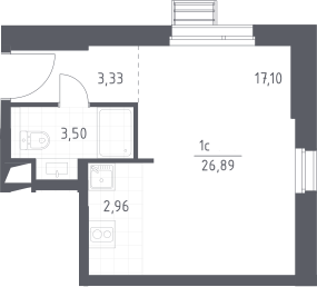 Студия, 26.89 м²