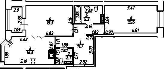 2-к.кв, 66.35 м², 5 этаж