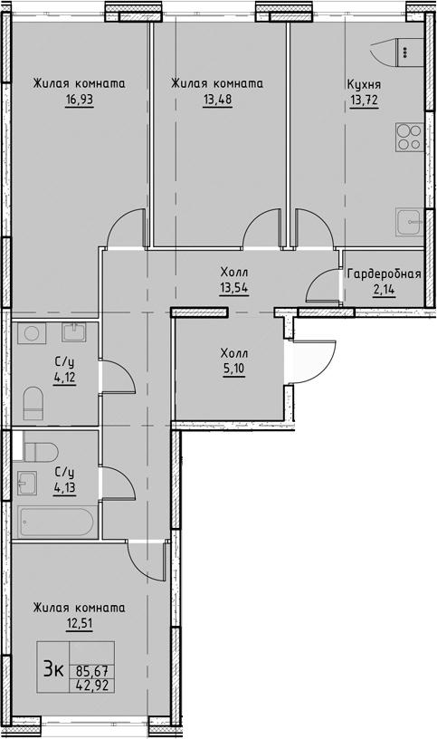 4Е-к.кв, 85.67 м²