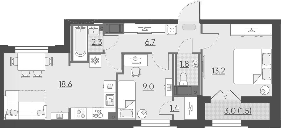 3Е-к.кв, 54.5 м², 12 этаж
