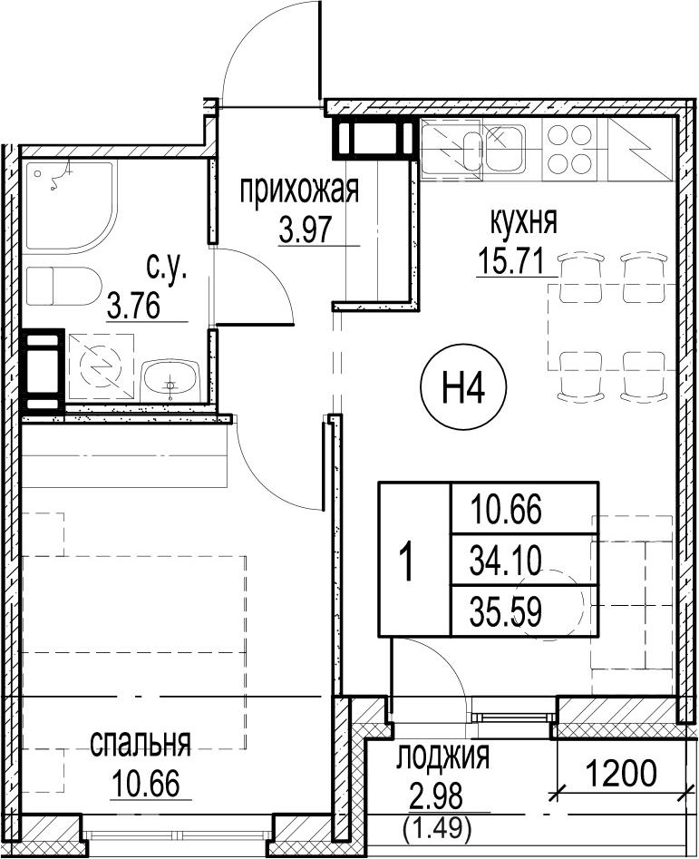 1-комнатная, 35.59 м²– 2