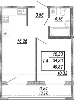 2Е-к.кв, 34.33 м², от 3 этажа
