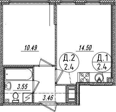 2Е-к.кв, 32 м², 6 этаж